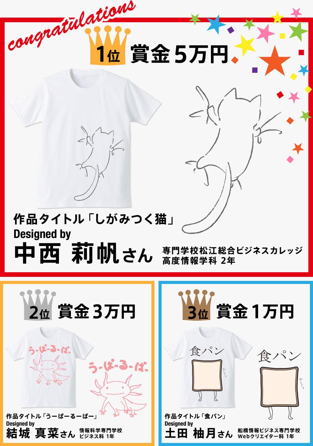 専門学生対象 Spring & Summer 2017 Tシャツデザインコンテスト 結果発表!