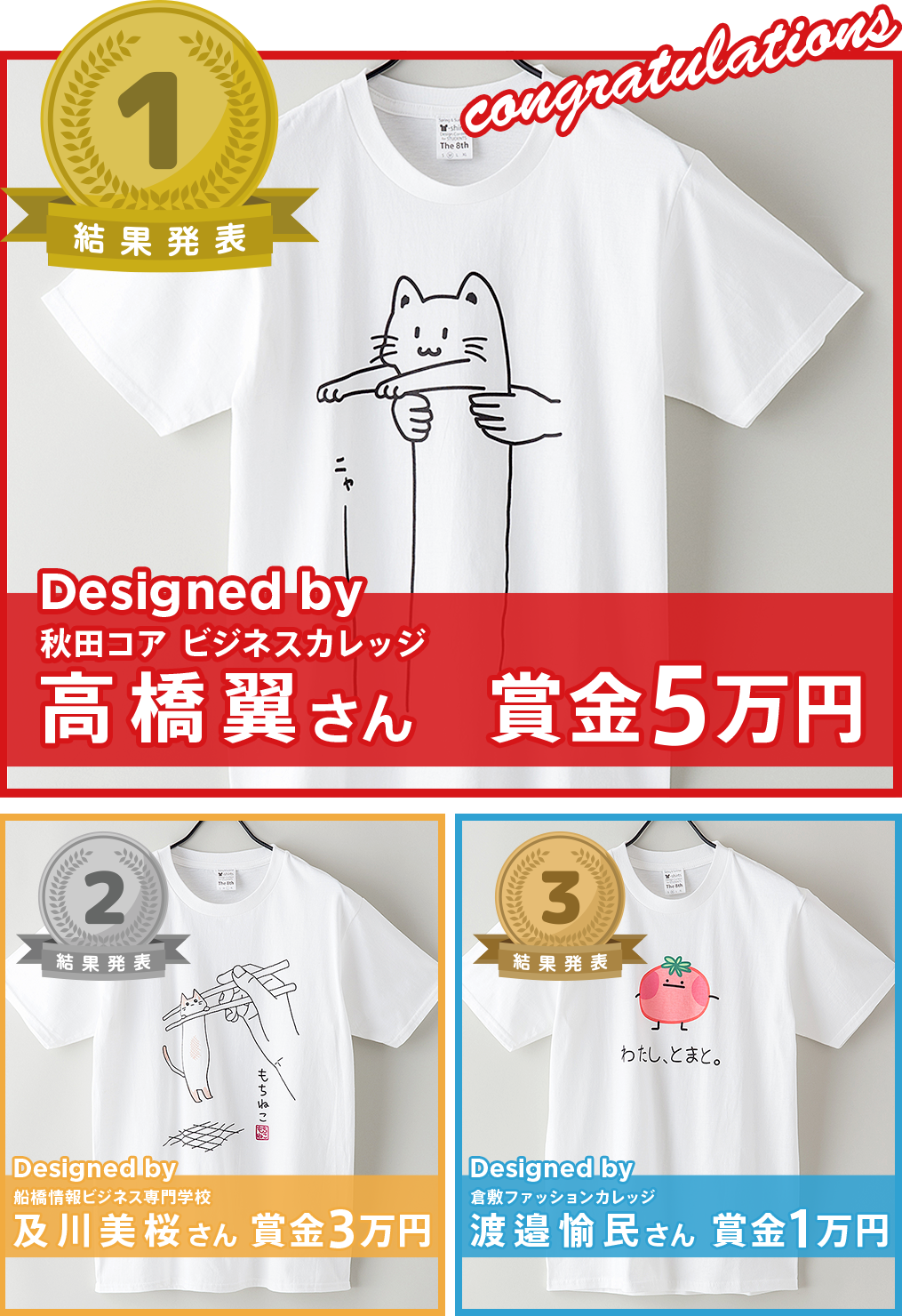 専門学生対象 Spring & Summer 2020 Tシャツデザインコンテスト 1位〜3位結果発表!